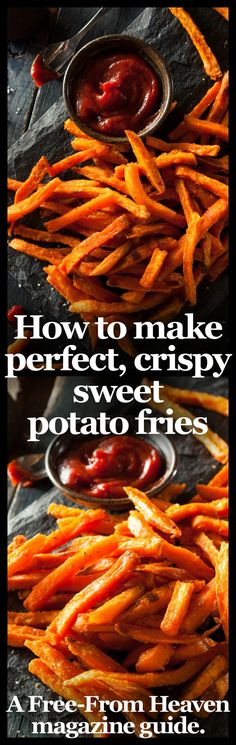 Theres no denying that sweet potato fries are one of the tastiest ways to eat these superfoods which have been named as one of the Worlds Healthiest Foods'. However if youve cooked them before youll know they can be very tricky to master and inva Think Food, Food For Thought, Vegetarian Recipes, Cooking Recipes, Healthy Recipes, Healthy Fries, Sweet Potato Recipes Healthy, Cookbook Recipes, Cooking Ideas