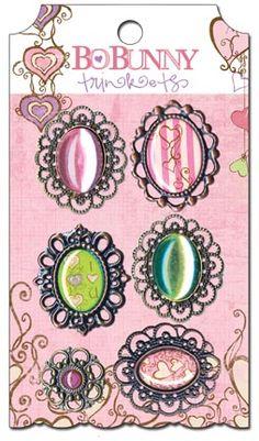 Bo Bunny Press - Smoochable Collection - Metal Embellishments - Trinkets at Scrapbook.com $4.99