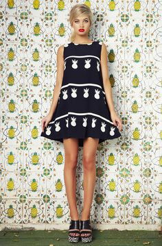 Cute B&W graphic pineapple print dress. The Pina Sleeveless Tina Dress by Mister Zimi.