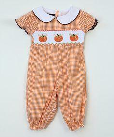 Look what I found on #zulily! Orange Gingham Pumpkin Smocked Playsuit - Infant & Toddler #zulilyfinds