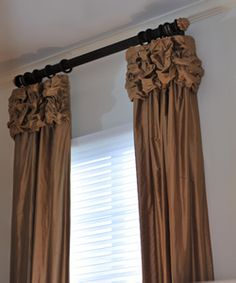 A favorite specialty heading. Cafe Curtains, Hanging Curtains, Window Coverings, Window Treatments, Custom Drapes, Drapery Panels, Curtain Designs, Decor Styles, Decorating Ideas