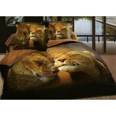 Animal Happy Couple Lion Bedding Set Queen Cotton Home Textiles Duvet Cover Set /Bed sheet/Pillow Case on Sale Yellow Bedding Sets, 3d Bedding Sets, Queen Bedding Sets, Blue Comforter, Comforter Sets, Leopard Bedding, Animal Print Bedding, Animal Prints, Couple Lion