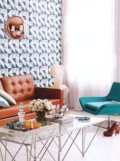tom dixon copper shade pendant...living room...geometric wallpaper...via Real Living