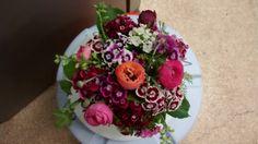 Sweet William and Ranunculus table arrangement