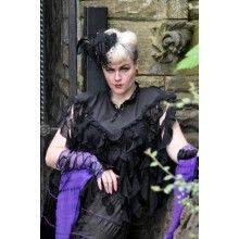 BLACK GOTHIC SLEEVELESS LACE TENDRILS VICTORIAN RUFFLES FRILLY TOP ONE SIZE 8-14