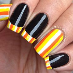 """""""#31DNAC Day 12: Stripes inspired by @thenailpolishchallenge's rainbow French tips. This is also doubling (tripling?) as my day 4 (candy corn) and day 7…"""""""