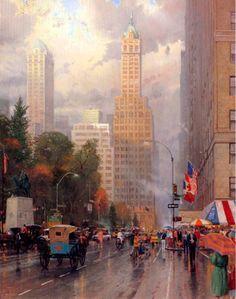 New York Central Park South at Sixth Ave ~ Thomas Kinkade
