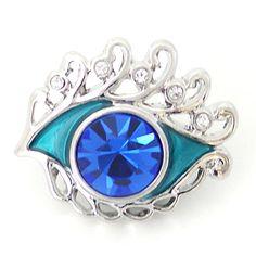 1 PC 18MM Blue Eye Enamel Rhinestone Silver Candy by 95Boutique