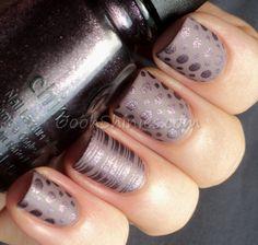 Gorgeous matte & foil polishes with dots & stripes nail art.