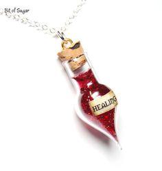 Healing Potion Necklace health potion vial por BitOfSugar en Etsy