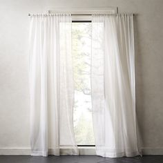 Loose, open weave of rayon, cotton and polyester fibers creates a net-like effect that softly filters light into any room. Curtain hangs alone in crisp white or layers naturally on a double rod for more shade. Fancy Curtains, Leaf Curtains, Black Curtains, Kids Curtains, Modern Curtains, Hanging Curtains, Curtains Living, Double Curtains, Country Curtains