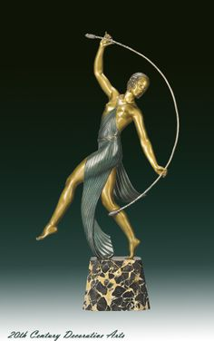 An Art Deco cold-painted and patinated bronze by J.D. Guirande, France circa 1930.