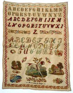 A Fabulous Mid 19th Century Sampler Stitched By Henriette de Tonge Dated 1853