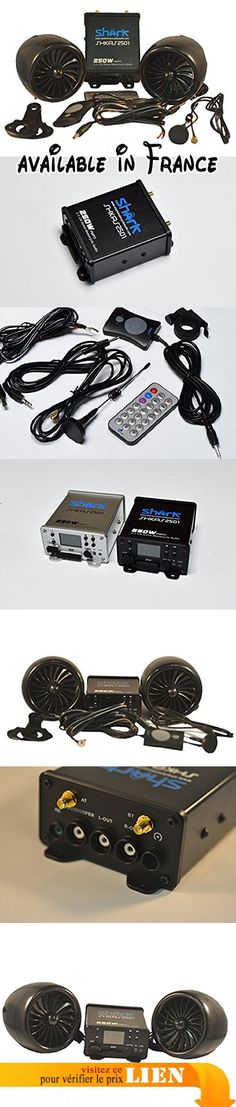 SharkMotorcycleAudio Système audio 2 canaux étanche à l'eau pour moto avec radio FM/technologie Bluetooth/sortie caisson de basses Noir 250 W. 100% Waterproof Motorcycle audio system. Built in Bluetooh FM Radio USB & SD slot input 3.5 mm AUX INPUT. USB charging function Wired and Wireless Remote (with Bracket for Wired Remote) 2.1 Channel #Automotive Parts and Accessories #POWERSPORTS_VEHICLE_PART