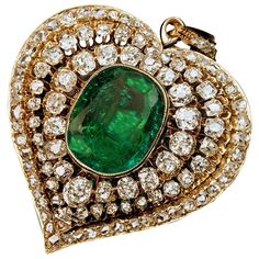 Victorian Emerald Diamond gold Heart Shaped Pendant   From a unique collection of vintage drop necklaces at https://www.1stdibs.com/jewelry/necklaces/drop-necklaces/
