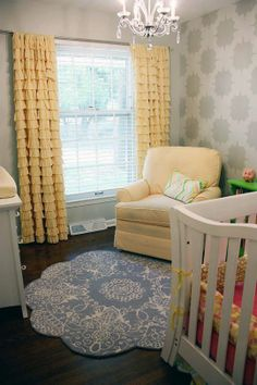 Love the greys and yellows and then the option to add in blue or pink. Would be perfect for nursery attached to master bedroom, which would eventually easily turn into a sitting room. Love the chair too! And the floors!