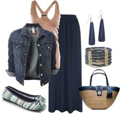"""""""Blue maxi skirt outfit"""" by lovelyingreen on Polyvore"""