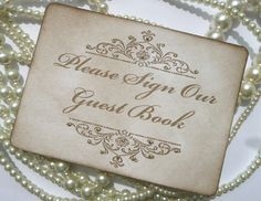 Wedding Sign  Please Sign Our Guest Book  with gold by amaretto, $5.25