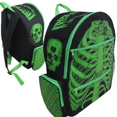 kreepsville 666 green ribcage back pack, monster range of horror bags purses and accessories Punk Outfits, Gothic Outfits, Rucksack Backpack, Rib Cage, Black Nylons, Green And Grey, Bag Accessories, Gothic Accessories, Purses And Bags