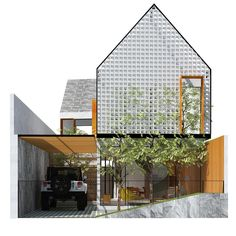 House facade contemporary building Ideas for 2020 Small House Design, Modern House Design, Facade Design, Exterior Design, Modern Tropical House, Space Architecture, Facade House, Style At Home, Minimalist Home