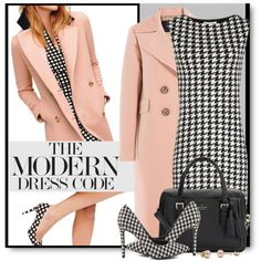 The Modern Dress Code by brendariley-1 on Polyvore featuring Tara Jarmon, Penny Loves Kenny, Kate Spade, modern, dress and houndstooth