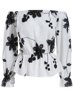 12$  Watch now - http://divjp.justgood.pw/go.php?t=806 - White Black Off the Shoulder Floral Blouse