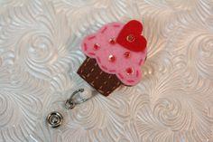 Cute Cupcake feltie -  professional nursing badge holder - retractable - badge reel - badge clip - name badge holder - felt badge reel