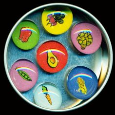 Veggie Glass Gem Magnet Set by artist Pamela Corwin. Buy unique wall clocks, travel alarm clocks, decorative refrigerator magnets, and night lights online, at Seattle's Pike Place Market or at a local retailer.