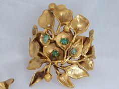 Pulsera sólo hojas con esmeraldas y diamantes de Rocío Porres