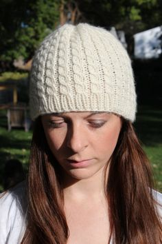 Ivory Cashmere Cabled Hat by GreatScottKnits on Etsy, $40.00