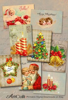MERRY CHRISTMAS ArtCult Printable Images are great for your art and craft projects.  These are self-print digital files.    INSTANT DOWNLOAD!
