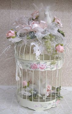 Winter Bird Cage-Bird Cage, Pink Rose Bird Cage, Cottage White Bird Cage, Hand Painted Bird Cage, Rose Painted Bird Cage