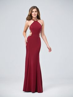 Val Stefani | Style 3218RW |  Floor Length Stretch Crepe Mermaid with Cut Outs Prom Dress