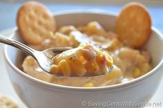 """Slow Cooker Potato and Ham Soup Recipe  This is one of my favorite soups – probably because it is just so simple, but everyone loves it and it is a perfect """"fix it and forget it"""""""