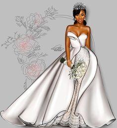 Her Bridal Style Journey Black Love Art, Black Girl Art, Black Is Beautiful, Black Girl Magic, Art Girl, Black Art Pictures, Illustration Mode, Illustrations, Black Artwork