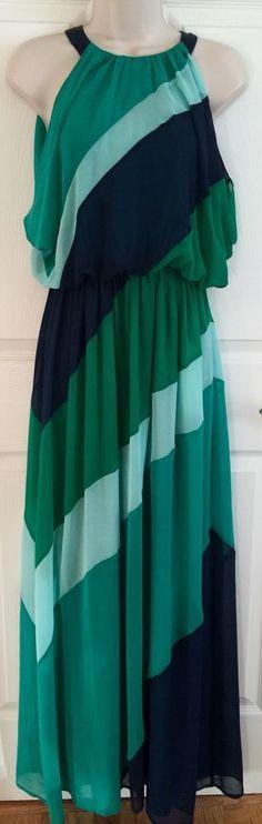 Vince Camuto Blue Colorblock Striped Casual Sleeveless Blouson Maxi Dress Size 4 | eBay