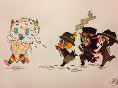 "thedorksideoftherainbow:      ""Spine! Hey Spine, come on! There's an ice-cream monster and we're gonna go lick it!""        This is the picture that I hope to give to Steam Powered Giraffe when I see them at Anime Midwest! -geeking-"