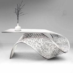 TORSION front desk /table / console sculpture a twisted metal sheet carved arabic calligraphy art. plaited with white aluminum powder by Sako Tchilingirian. Arabic Decor, Islamic Decor, Islamic Art, Metal Furniture, Unique Furniture, Furniture Design, Furniture Dolly, Furniture Online, Diy Furniture