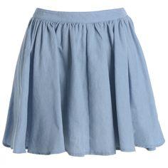AX Paris Plain Denim Skirt ($30) ❤ liked on Polyvore