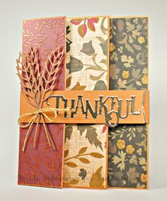 Thankful Trifold Card Tutorial Thankful Trifold Card Tutorial, Frantic Stamper Dies, Stamping as Fast as I Can! Tri Fold Cards, Fancy Fold Cards, Folded Cards, Frantic Stamper, Simple Card Designs, Step Cards, Stamping Up Cards, Card Tutorials, Halloween Cards