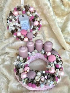Christmas Advent Wreath, Christmas Candy, Ornament Wreath, Ornaments, Balerina, Clay Dolls, Pink Candy, Xmas Decorations, Door Wreaths