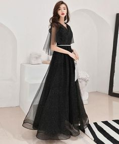 Black tulle long prom dress, black tulle evening dress - Black tulle long prom dress, black tulle by PrettyLady on Zibbet Source by sophisticatedtrashcan - Burgundy Evening Dress, Black Evening Dresses, Black Prom Dresses, Grad Dresses, Cute Dresses, Beautiful Dresses, Dress Outfits, Fashion Dresses, Formal Dresses
