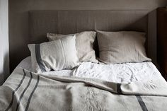 The secret to a good night sleep! ILTA bedlinen, USVA pillow and throw. 100% washed linen.