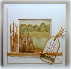 Love this pretty scene Birgit Edblom created here! I love how she made the background and then stamped the grass and cattails from the Growing Wild set (from TechniqueTuesday.com) on top.
