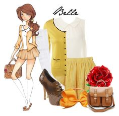 Disney High: Belle by disneykid95 on Polyvore featuring polyvore, moda, style, Miso, H&M, RVCA, Not Rated, Disney, fashion, clothing, disney high, beauty and the beast, disney and belle