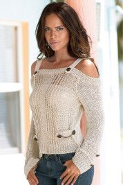 Boston Proper Cold-shoulder button-detail sweater...I so want this for the Fall/Winter season!!!