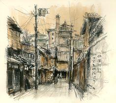 祇園町北側四条切通辺り 20141224 京 スケッチ