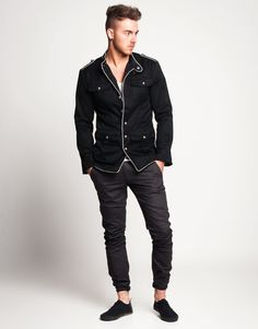 Today's Daily Fix: Men's Black Military Silver Piping Jacket With Silver Buttons    £60    http://www.phixclothing.com/mens-black-military-silver-piping-jacket-with-silver-buttons-p-3655_7_8.html