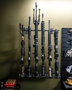 Tactical Gun Rack display by Hold Up Displays. USA made and family owned! $109.99 Weapon Storage, Gun Storage, Tactical Wall, Tactical Gear, Gun Safe Room, Decked Truck Bed, Glock Mods, Ar Accessories, Rifle Rack
