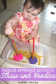 Toddler Approved Activites- Straw and noodles- Fine motor skill activity for toddlers and one year olds.
